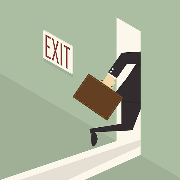 Exit businessman walking to exit door, eps 10 vector illustration escaping stock illustrations
