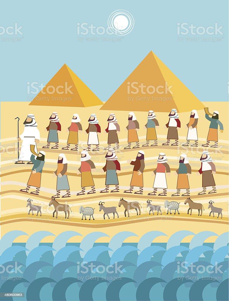 Exodus, Páscoa judaica - ilustração de arte em vetor