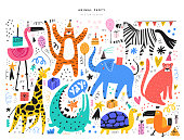 Exotic animals and event symbols illustrations set. Cute tiger, elephant, giraffe and tropical birds isolated on white background. Cakes, gift boxes, balloons doodles for kids holiday celebration