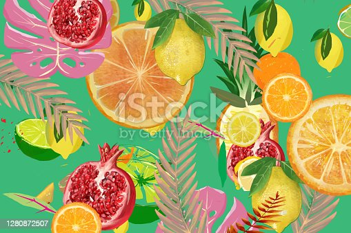 Illustration of seamless tropical fruits pattern