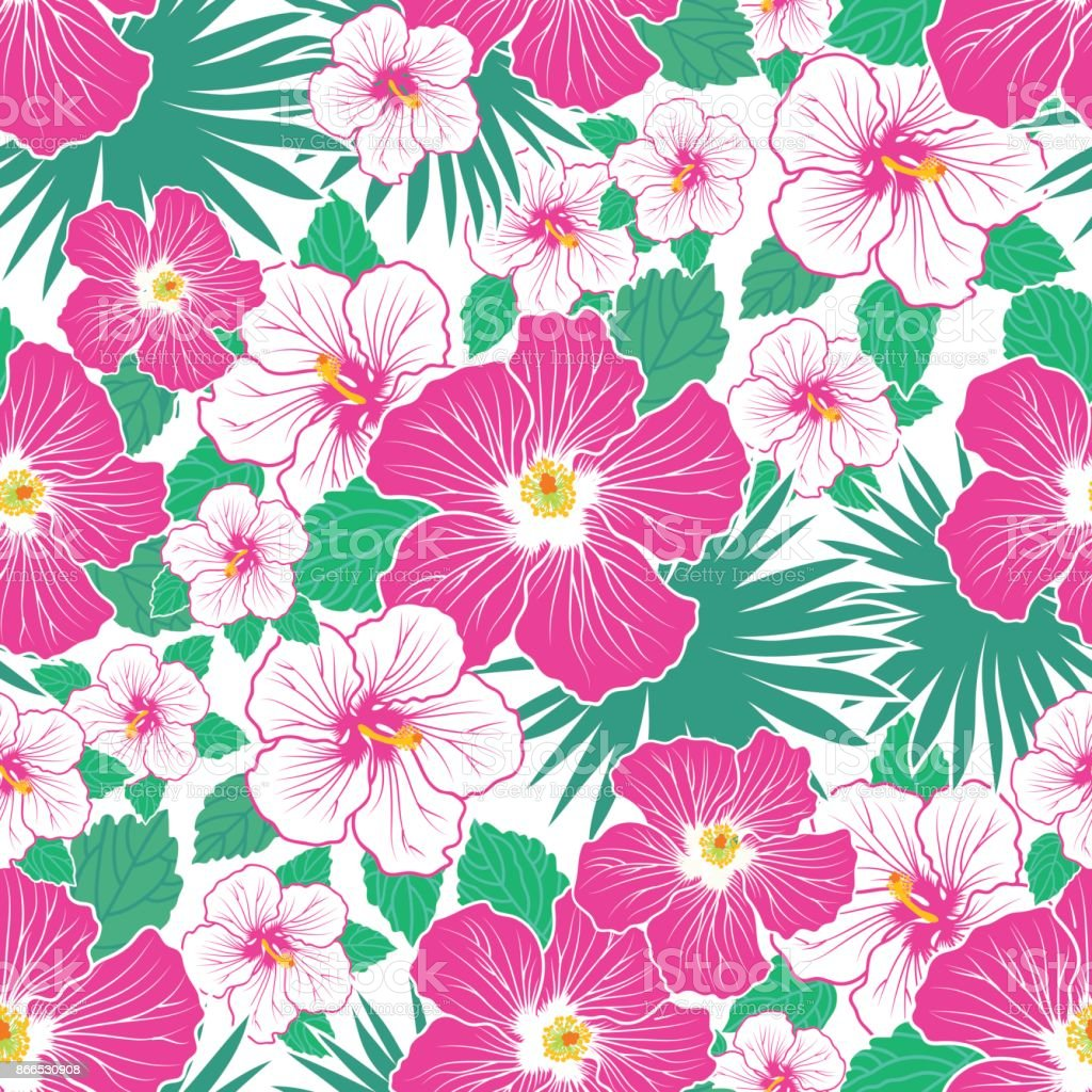 Exotic Background With Cute Palm Leaves And Hibiscus Flowers Summer