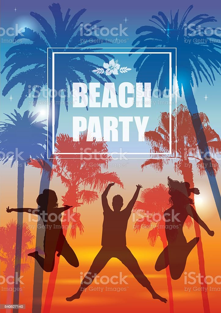 Exotic Banner with Palm Trees and People Silhouettes for Party. vector art illustration