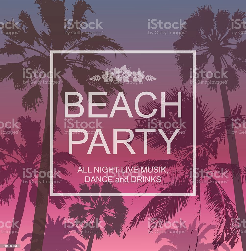 Exotic Banner with Palms for Beach Party. Summer Travel Background . vector art illustration