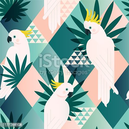 Exotic beach trendy seamless pattern, patchwork illustrated floral vector tropical leaves. Jungle cockatoo Wallpaper print background mosaic.