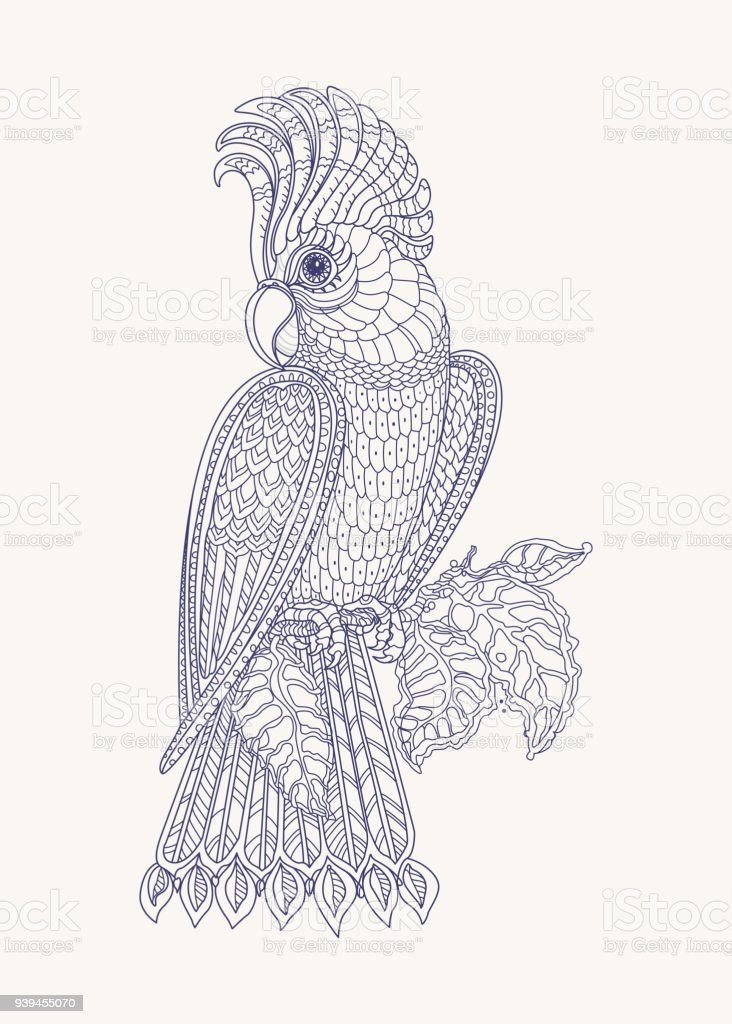 Exotic bird, fantastic branches, leaves. Contour indigo blue thin line drawing with ethnic ornaments on a light beige . Vector fantasy stylized cockatoo jungle parrot silhouette.T-shirt print. Coloring book page for adults and children. Henna tattoo vector art illustration