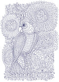 Exotic bird, fantastic flowers, branches, leaves. Contour thin line drawing with ethnic ornaments. Vector fantasy stylized cockatoo jungle parrot silhouette.T-shirt print. Coloring book page for adults and children. Blue and White