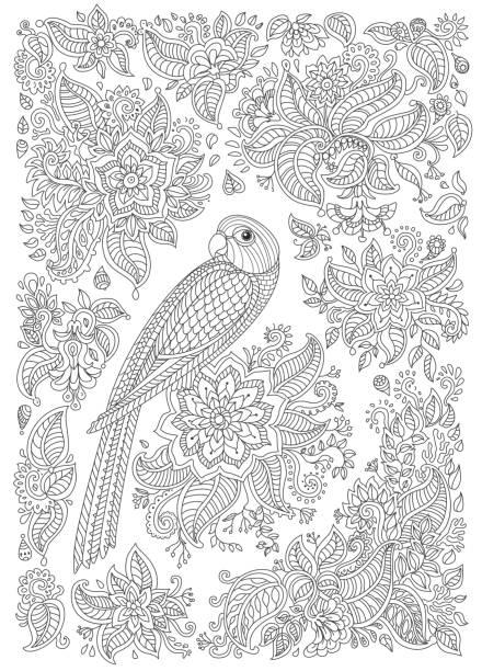 stockillustraties, clipart, cartoons en iconen met exotische vogel met fantastische bloemen, takken, bladeren. zwart-wit contour dunne lijntekening. vector decoratieve fantasie gestileerde papegaai silhouet in de jungle. t-shirt afdrukken, batik verf. volwassenen coloring boek verticale pagina - hennatatoeage