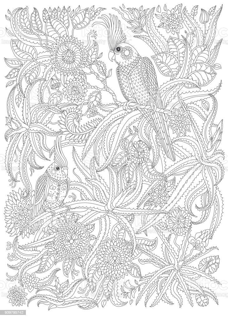 Ilustración de Aves Exóticas Con Fantásticas Flores Ramas Hojas ...