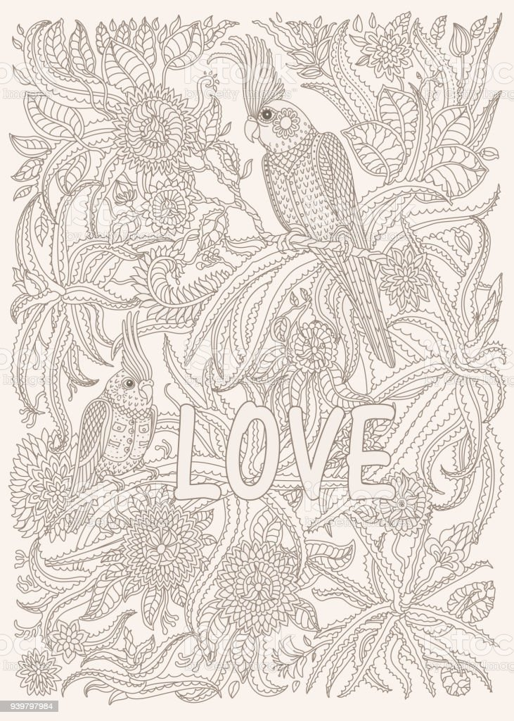 Exotic Birds With Fantastic Flowers Branches Leaves Brown And Green