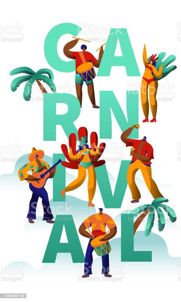 0a40a2cddbe6 Ilustración de Carnaval Exótico Personaje Fiesta Danza Tipografía ...