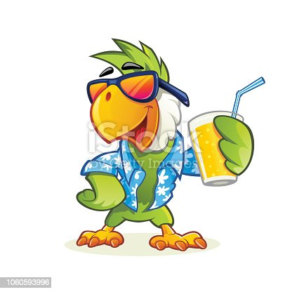 Parrot mascot holding glass of orange juice
