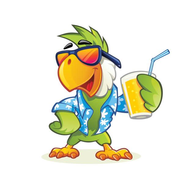 ilustrações de stock, clip art, desenhos animados e ícones de exotic cartoon parrot with sunglasses - arara