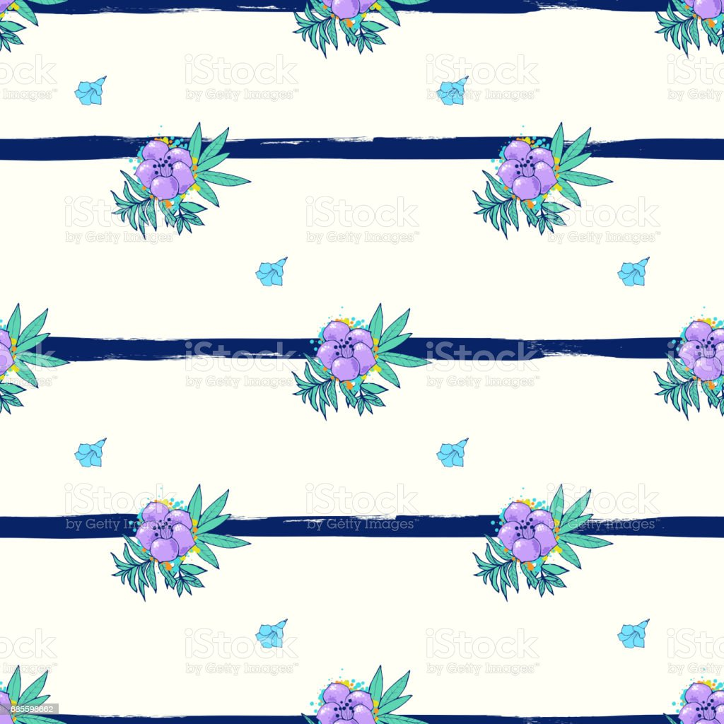 Exotic colorful flowers on a white-blue background with stripes 免版稅 exotic colorful flowers on a whiteblue background with stripes 向量插圖及更多 傳統園林 圖片