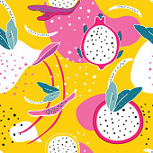 Exotic colorful tropical fruits Dragon fruit Pitaya Pitahaya slices Flowers and abstract elements Seamless background pattern Unique hand drawn stylish design