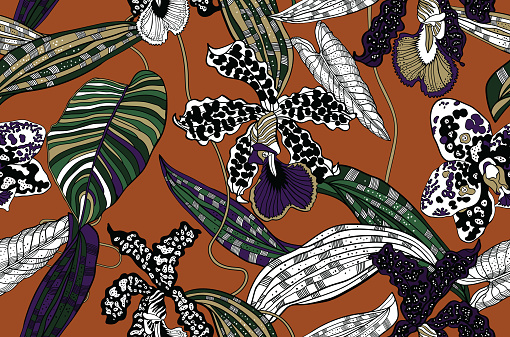 Exotic floral pattern, tropical botanical seamless vector background. Textile design.