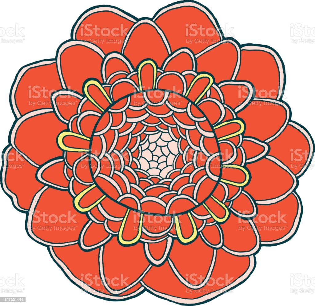 Exotic Flower Mandala Vector Isolated Element Tropical Flora ...