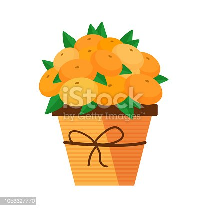 Exotic fruit bouquet with oranges and tangerines carved as flowers. Romantic vegan gift.