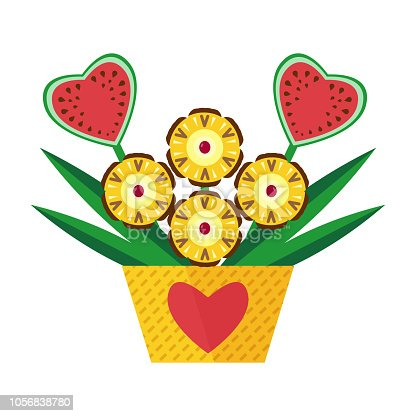 Exotic fruit bouquet with pineapples and heart-shaped watermelon carved as flowers. Romantic vegan gift.
