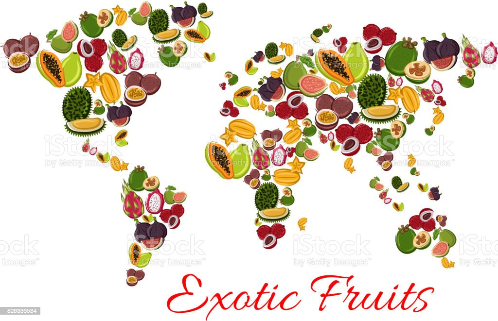 Exotic fruit world map poster for food design stock vector art exotic fruit world map poster for food design royalty free exotic fruit world map poster gumiabroncs Choice Image