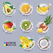 Exotic fruits in yogurt sprays. Vector set.