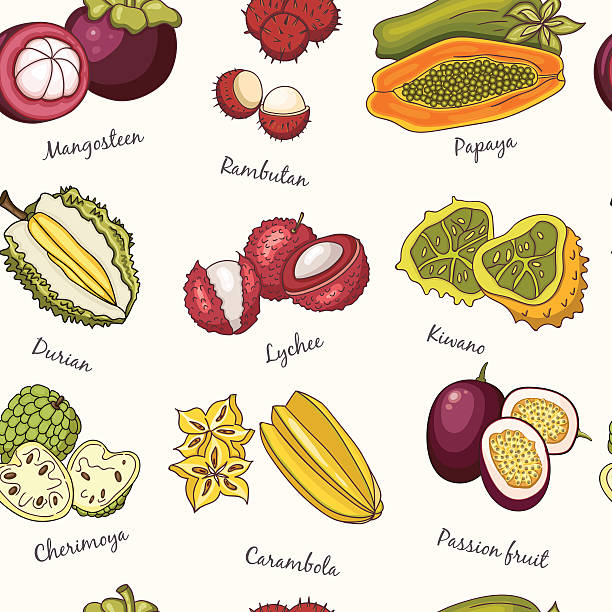 exotic fruits seamless pattern. - thai food stock illustrations, clip art, cartoons, & icons