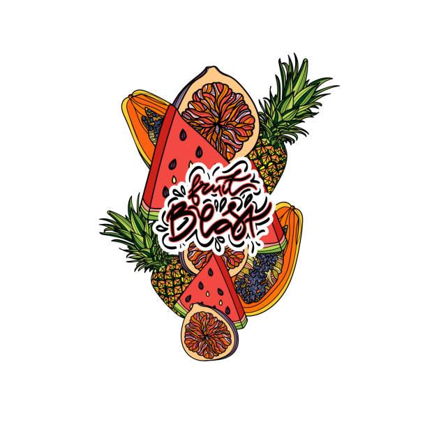 exotische früchte-vektor-komposition. - megabat stock-grafiken, -clipart, -cartoons und -symbole
