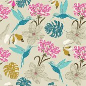 Exotic hummingbird and tropical flowers. Vector.