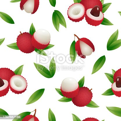 istock Exotic lychee fruit seamless pattern 1262687194