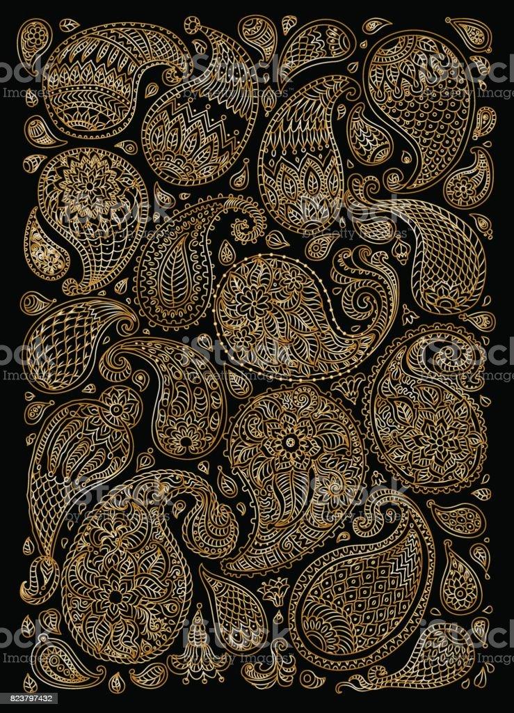エキゾチックなペイズリー幻想的な花、枝、葉の装飾的な要素。金属ゴールド輪郭細い線黒の背景に。ベクトル花ファンタジー飾り。垂直方向のページに t シャツを印刷します。 ベクターアートイラスト