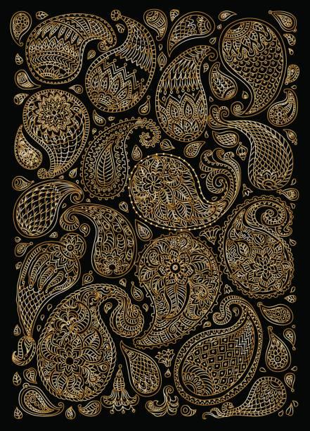 エキゾチックなペイズリー幻想的な花、枝、葉の装飾的な要素。金属ゴールド輪郭細い線黒の背景に。ベクトル花ファンタジー飾り。垂直方向のページに t シャツを印刷します。 - 花のボーダー点のイラスト素材/クリップアート素材/マンガ素材/アイコン素材