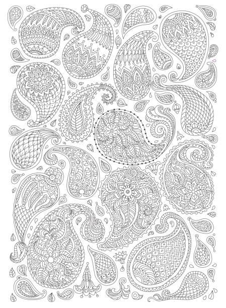 エキゾチックなペイズリー幻想的な花、枝、葉の装飾的な要素。黒と白は輪郭細い線です。ベクトル花ファンタジー シルエット。t シャツ プリントです。子供と大人の垂直方向のページの塗り絵 - 花のボーダー点のイラスト素材/クリップアート素材/マンガ素材/アイコン素材
