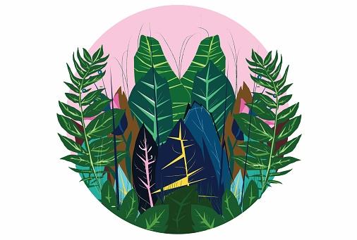 Exotic plants - spring theme stock illustration