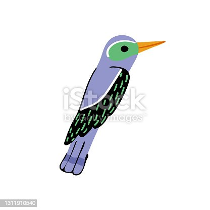 istock Exotic purple bird with abstract feathers vector 1311910540