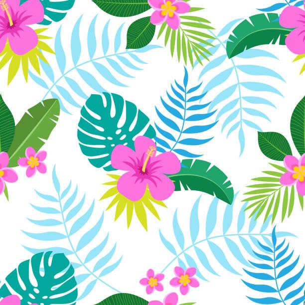 exotische bunte musterdesign mit tropischen dschungel blätter und blüten von plumeria und hibiskus auf weißem hintergrund. - hibiskusgarten stock-grafiken, -clipart, -cartoons und -symbole