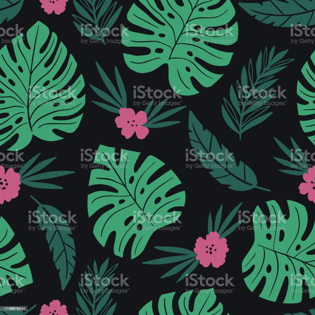 Exotic Seamless Colorful Pattern With Tropical Jungle Leaves And