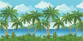 Exotic seamless background, tropical landscape, sea island with green palm trees and flowers and cloudy sky. Vecto