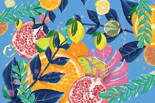 Exotic summer fruit and tropical leaves background