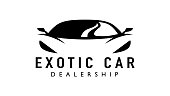Exotic car dealership supercar design with concept sports vehicle icon silhouette on white background. Vector illustration
