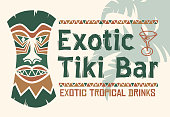 Tiki design illustration with tropical leaves