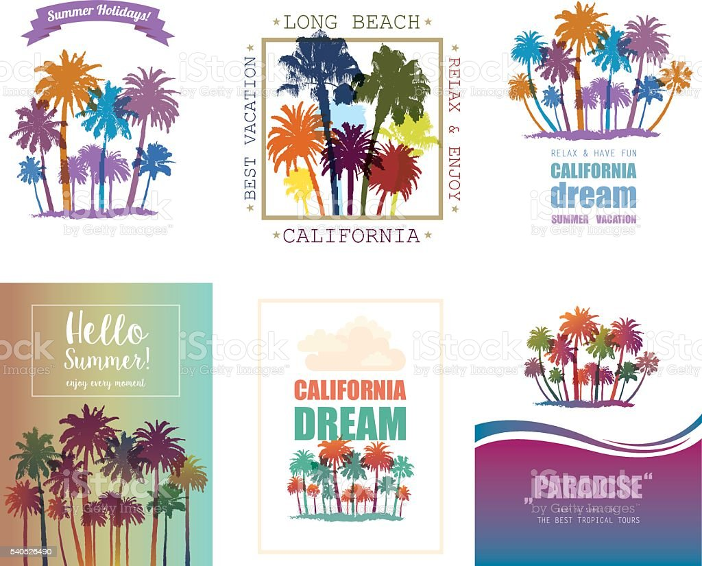 Exotic Travel Background with Palm Trees. vector art illustration
