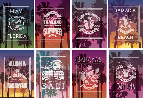 Exotic Travel Backgrounds with Palm Trees.