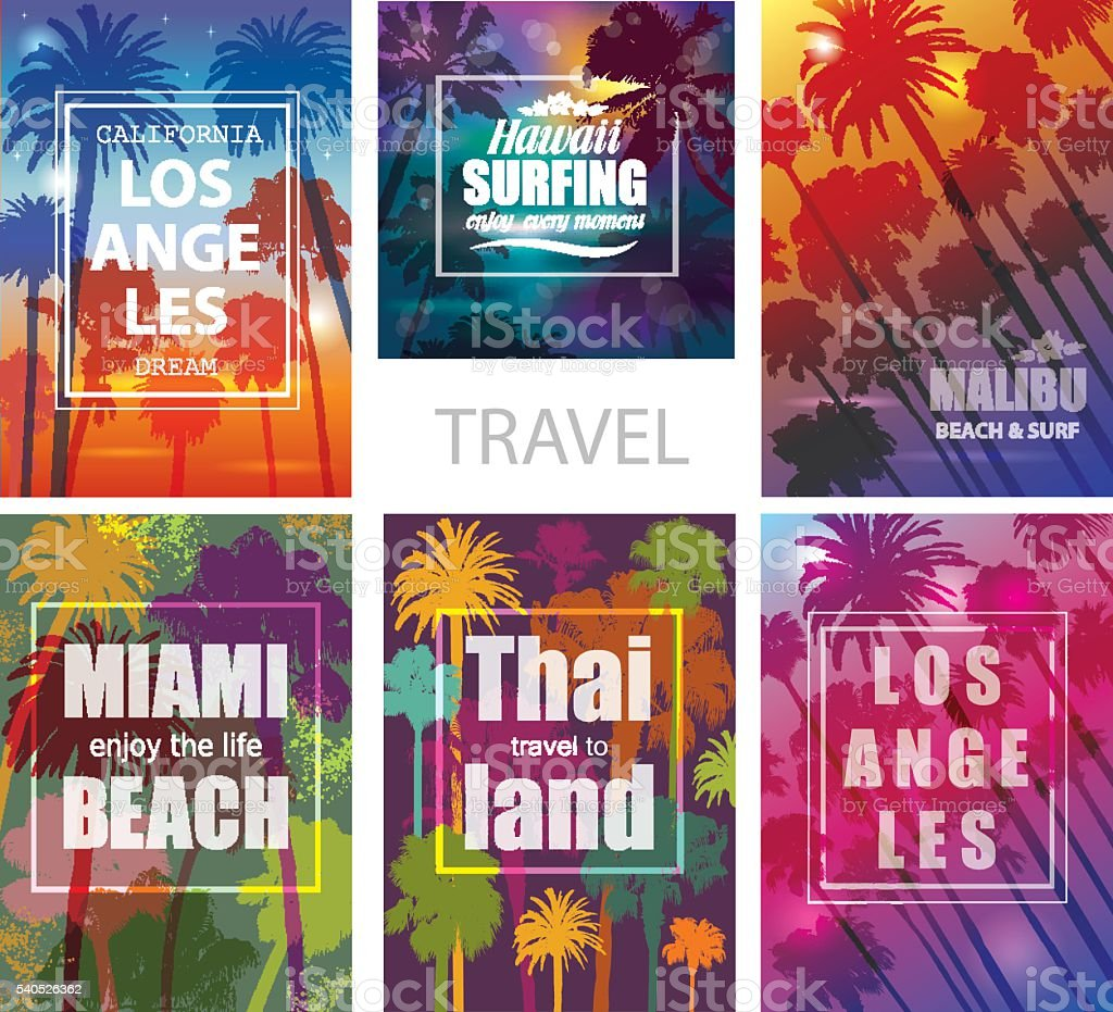 Exotic Travel Backgrounds with Palm Trees . vector art illustration