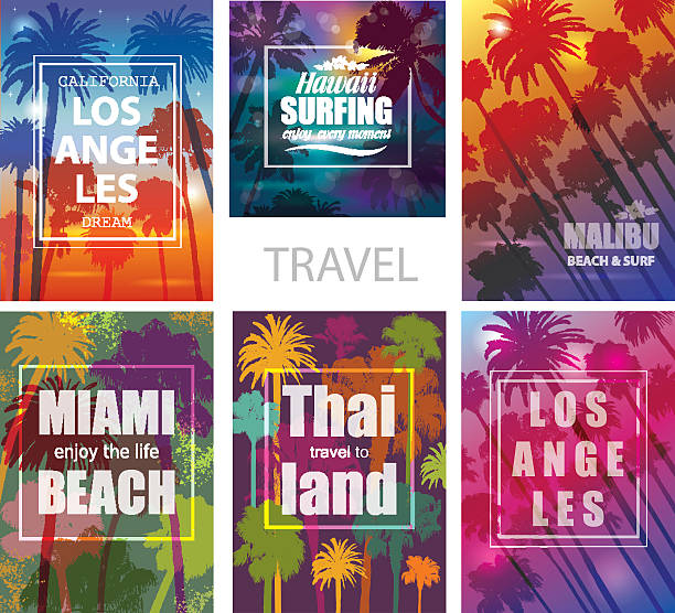 Exotic Travel Backgrounds with Palm Trees . Exotic Travel Backgrounds with Palm Trees . Vector Prints for T-shirt. miami stock illustrations