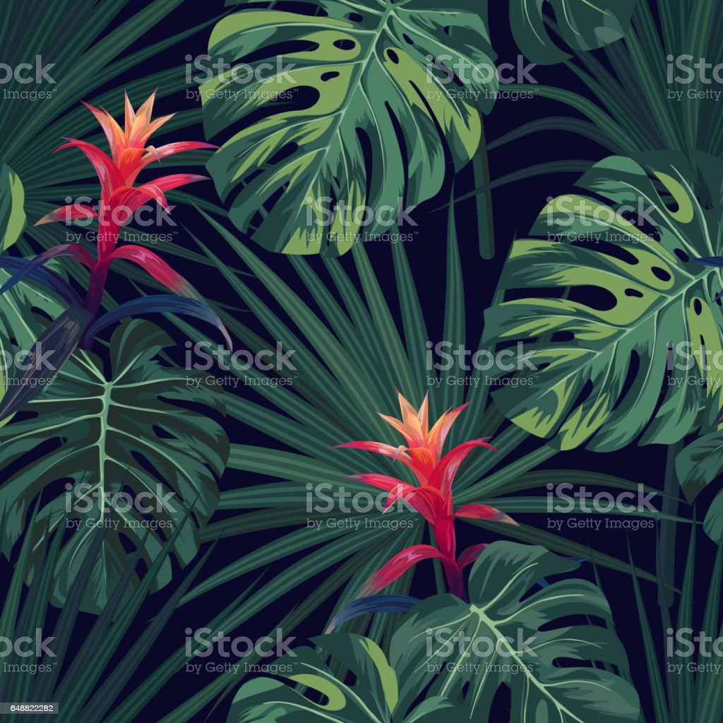 Exotic tropical background with hawaiian plants and flowers seamless exotic tropical background with hawaiian plants and flowers seamless vector pattern with green monstera and izmirmasajfo