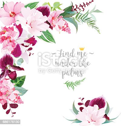 Exotic tropical floral frame arranged from white layered and pink hibiscus, medinilla, paphiopedilum orchid, hydrangea, green plants vector design set. All elements are isolated and editable.