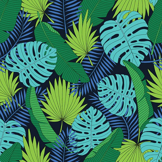 Exotic tropical palm leaves seamless background. Vector illustration - ilustración de arte vectorial
