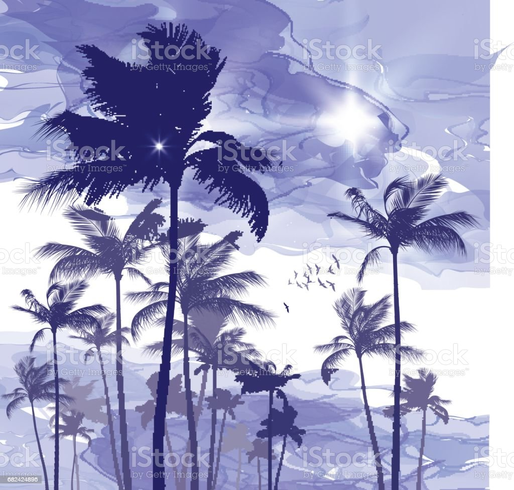 Exotic tropical palm trees  at sunset or sunrise royalty-free exotic tropical palm trees at sunset or sunrise stock vector art & more images of art