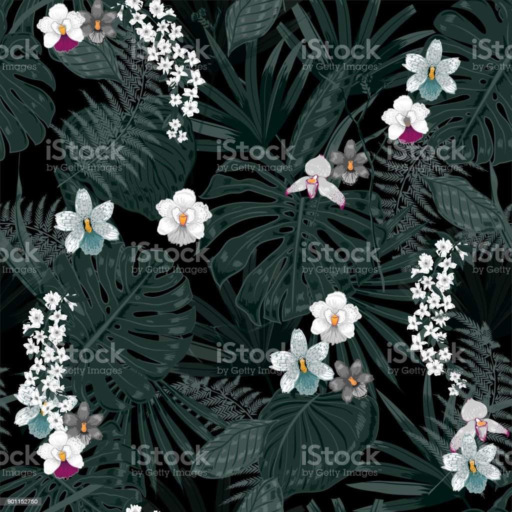 Exotic tropical vector background with hawaiian plants and flowers exotic tropical vector background with hawaiian plants and flowers seamless dark tropical pattern royalty izmirmasajfo