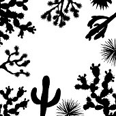 Exotic wildflower cactus frame. Saguaro, prickly pear, agave and Joshua tree banner. Vector illustration, black and white silhouettes. Stylish banner with place for text