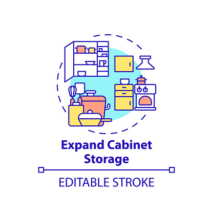 Expand cabinet storage concept icon